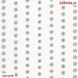 Plátno - Vločky 8 mm v řadách šedé na bílé, Atest 1, šíře 150 cm, 10 cm