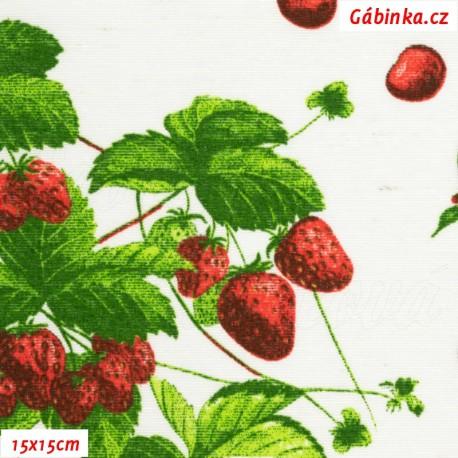 Režné plátno - Jahody a třešinky na bílé, 15x15 cm