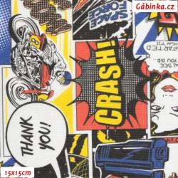 Režné plátno - Barevný komiks, 15x15 cm