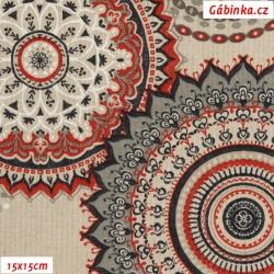 Režné plátno - Mandaly červené a šedé, šíře 140 cm, 10 cm
