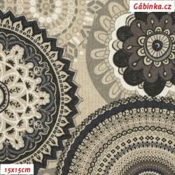 Režné plátno - Mandaly černošedobílé, šíře 140 cm, 10 cm