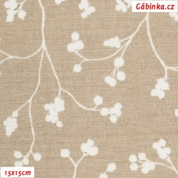Režné plátno - Bobulky se stonky bílé na béžové, 15x15 cm