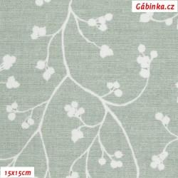 Režné plátno - Bobulky se stonky bílé na světle zelené, 15x15 cm