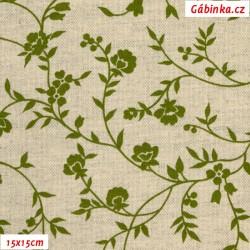 Režné plátno - Zelené kytičky se stonky a lístečky, šíře 140 cm, 10 cm