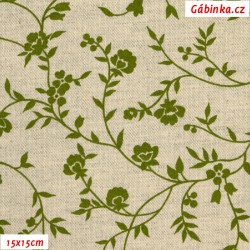 Režné plátno - Zelené kytičky se stonky a lístečky, 15x15 cm