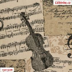 Režné plátno - Hudební nástroje na notách, 15x15 cm