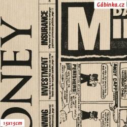 Režné plátno - Noviny, 15x15 cm