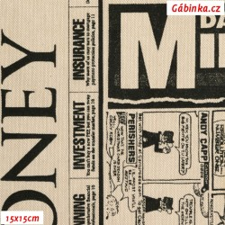 Režné plátno - Noviny, šíře 140 cm, 10 cm