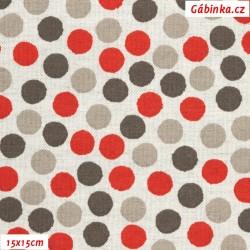 Režné plátno - Puntíky červené, hnědé a šedé na světlé, 15x15 cm