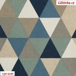 Režné plátno - Trojúhelníky 43 mm modré, hnědé a bílé, 15x15 cm