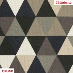 Režné plátno - Trojúhelníky 43 mm černé, hnědé a béžové, 15x15 cm