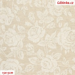 Režné plátno - Bílé růže s lístečky, šíře 140 cm, 10 cm