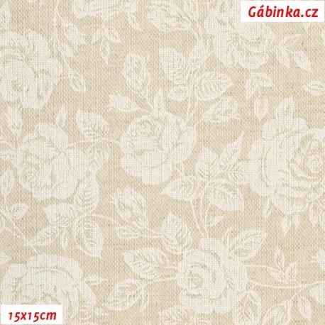Režné plátno - Bílé růže s lístečky, 15x15 cm