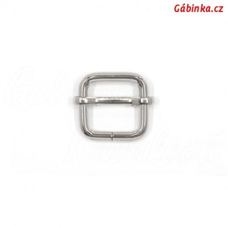 Průvlečná spona kovová - nikl, 20x19 mm