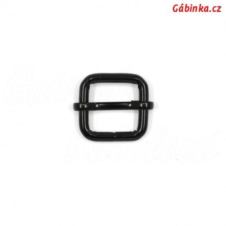 Průvlečná spona kovová - černá, 20x19 mm