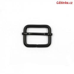 Průvlečná spona kovová - černá, 25x19 mm