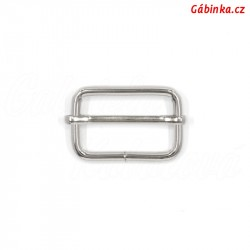 Průvlečná spona kovová 4 mm - nikl, 30x19 mm, 1 ks