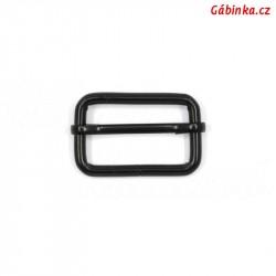 Průvlečná spona kovová - černá, 30x19 mm