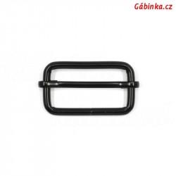 Průvlečná spona kovová - černá, 40x19 mm
