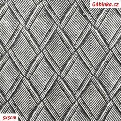 Koženka plastická 07, Stříbrné kosočtverce, šíře 135 cm, 10 cm, 2. jakost
