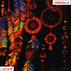 Teplákovina s EL Digitální tisk - Lapače snů do oranžova na černé, šíře 180 cm, 10 cm, ATEST 1