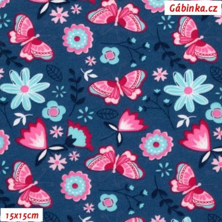 Bavlněný jednolícní úplet - Motýlci a kytičky na tmavě modré, ATEST 1, 15x15 cm