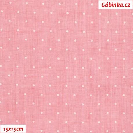 Fáčovina lehká, průsvitná - Puntíky na růžové, 15x15 cm