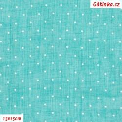 Fáčovina lehká, průsvitná - Puntíky na tyrkysové, šíře 145 cm, 10 cm