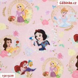 Plátno - Princezny Disney na růžové, LICENCE, šíře 150 cm, 10 cm