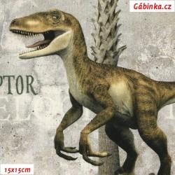 Plátno SOFT - vyšší gramáž, Velcí dinosauři - digitální tisk, 15x15 cm