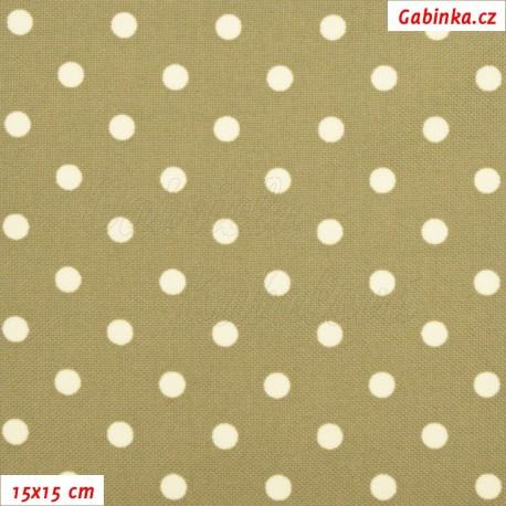 Kočárkovina MAT, Malé puntíky smetanové na béžovohnědé, šíře 160 cm, 10 cm, Atest 1
