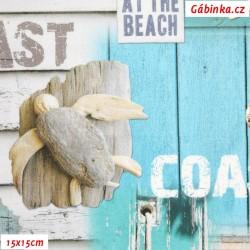 Plátno SOFT - vyšší gramáž, Mořské vábení s nápisy COAST - digitální tisk, 15x15 cm