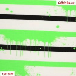 Úplet s EL - Pruhy černé, bílé a rozteklý zelený NEON, šíře 150 cm, 10 cm
