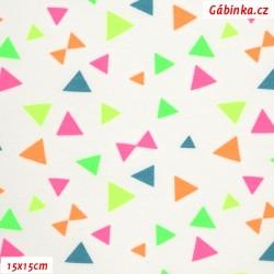 Úplet s EL - NEON trojúhelníčky na bílé, 15x15 cm