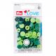 """Patentky """"Color snaps"""" 12,4 mm PRYM LOVE 393001, Zelené, 30 ks"""
