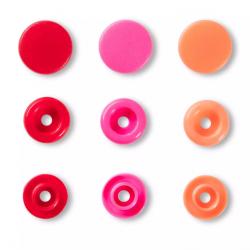 """Patentky """"Color snaps"""" 12,4 mm PRYM LOVE 393002, Lososová, růžová, červená, 30 ks"""