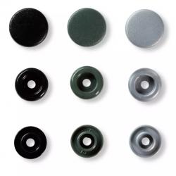 """Patentky """"Color snaps"""" 12,4 mm PRYM LOVE 393003, Kovově zelená, šedá, černá, 30 ks"""
