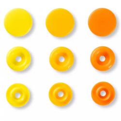 """Patentky """"Color snaps"""" 12,4 mm PRYM LOVE 393004, Oranžová, vajíčkově žlutá, žlutá, 30 ks"""