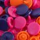 """Patentky """"Color snaps"""" 12,4 mm PRYM LOVE 393006, Oranžová, růžová, fialová, 30 ks"""