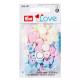 """Patentky """"Color snaps"""" 12,4 mm PRYM LOVE 393007, Pastelově modrá, růžová a smetanová, 30 ks"""