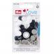 """Patentky """"Color snaps"""" 12,4 mm PRYM LOVE 393008, Bílá, šedá, černá, 30 ks"""