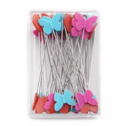 Špendlíky quiltovací PRYM LOVE 028 521, srdíčka, motýlci, květiny, 50x0,6 mm, 50 ks