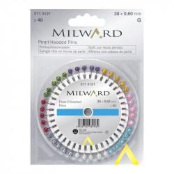 Špendlíky s perlovou hlavičkou MILWARD 211 3121, 38x0,6 mm, 40 ks v rozetce
