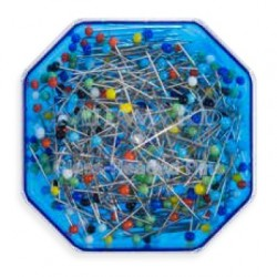 Špendlíky se skleněnou barevnou hlavičkou v modré hranaté krabičce MILWARD 211 3103, 30x0,6 mm, 25 g
