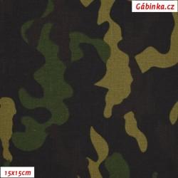 Plátno, Maskáč se zelenou, gr. 165, Atest 1, 15x15 cm