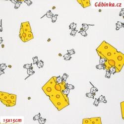 Plátno - Myšky se sýrem na bílé, šíře 145 cm, 10 cm, Atest 1