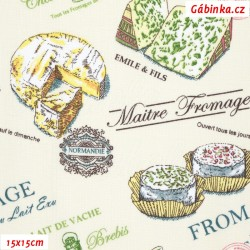 Plátno - Francouzské sýry na smetanové, šíře 140 cm, 10 cm
