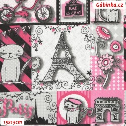 Plátno - Eiffelovky a kočky růžové, 15x15 cm