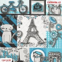 Plátno - Eiffelovky a kočky tyrkysové, 15x15 cm