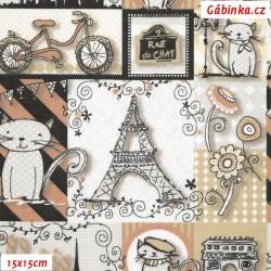 Plátno - Eiffelovky a kočky béžové, šíře 140 cm, 10 cm